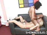 Blonde shemale Faxiana stroking her hard cock