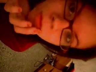 Student with glasses become crazy of webcam...