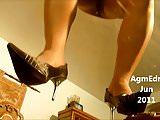 Shiny pantyhosed legs