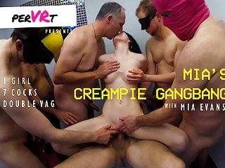 Mia's creampie gangbang – 1 girl double penetrated by 7 guys