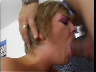 Slut in fishnets gets licked...