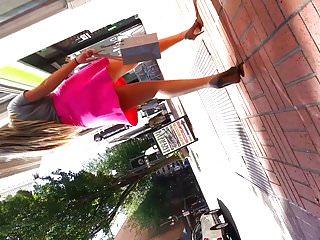 Upskirt pink dress...