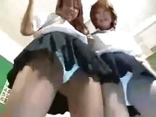 asian schoolgirl uniform pantie upskirt dance tease pose