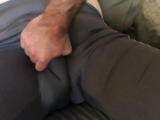 Rubbing , Kneating , Squeezeing Daddy hot big bulge !