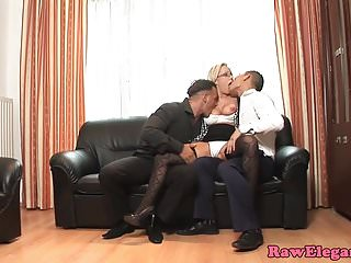 Cocksucking euro pounded by two guys cock