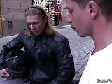 He ask hunky hetero biker play gay game