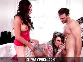 In boy girl tranny threesome...