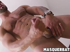 Cute bearded stud wakes up with morning wood and masturbates