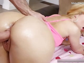 Big booty blonde bitch gets oiled and banged. Hot whore