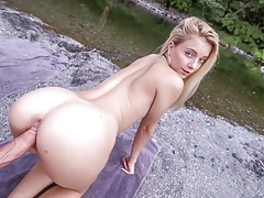 Hot Youthful Smallish Blond Teenage Pummeled Outdoors Hiking Pov