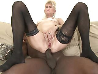Granny fucked hard in her ass by black...