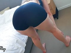Beautiful Stepsister's Ass Gets Jizzed On In Ripped Bike Shorts