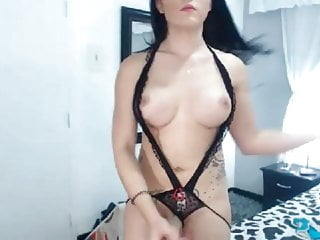 Chick stripteases and fucks herself good...