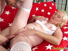 Golden Slut - Blonde Grannies Taking Big Cocks Compilation