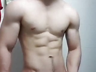 Young korean muscle college twink jerk and cum