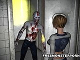 Busty 3D Babe Fucked Anally by a Zombie