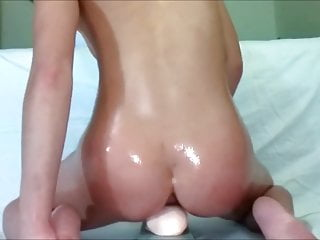 Asian A Chick Up Dildo Monster Riding Oiled
