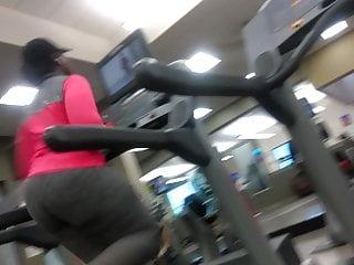 Fat ass Ebony on Treadmill part2