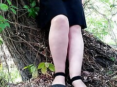Masturbating my wet lustful pussy in outdoors
