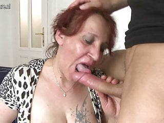 Naughty fucking her young boy...