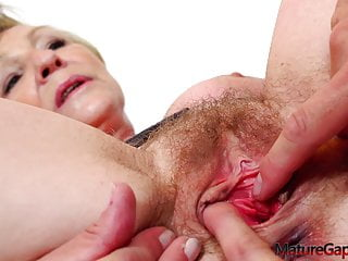 Hairy granny's pussy hard gaping, fingering and fucking