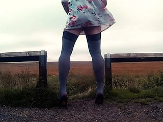 heels miniskirt and Crossdresser outdoors stockings  in