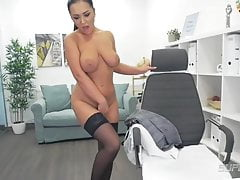 Josephine (Josephyne) in black stockings, high heels & fingering
