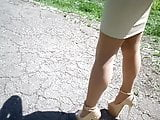 Walk in high heels 20 cm, legs in body pantyhose