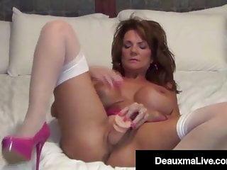 Busty Cougar Deauxma Stuffs Her Ass With A Butt Plug And Cums
