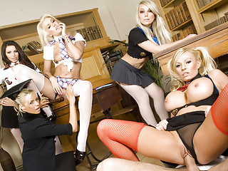 Gangbang Hardcore Blonde video: Reverse Gangbanged by Four Horny Schoolgirls n Their Teacher