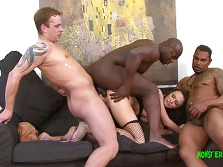 Gorgeous Belle takes four large cocks in all her holes, dp