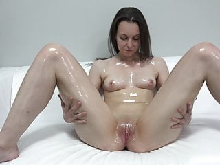 Teen Casting and oil masturbation