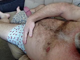 FAT DADDY CUM CANNON BLOWING A LOAD OVER MY HAIRY BEAR BELLY