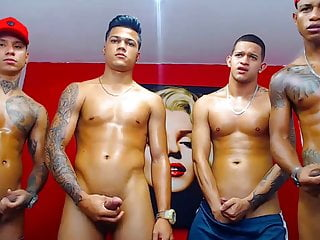 4 hot young latino boyfriends cum together