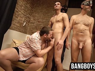 Deviant twinks in masks have an ass fucking...