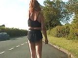 Zoe flaunts then picks uip a motorist on the Highh Street