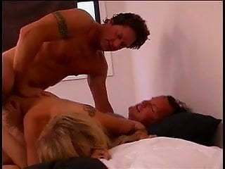 Perfect blonde gets double penetrated from two lucky big dicked guys