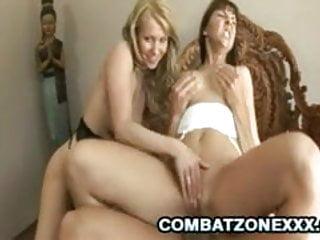 Euro babes Linda Shane and Maria Bellucci tag team a cock