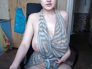 Saggy big boobs tattooed touching herself...