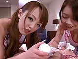 Hugetitted japanese nurse tests patients cock