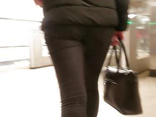 Hidden cam behind girl's ass
