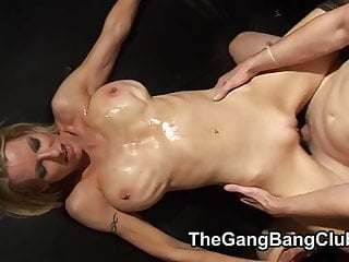 Cumming onto womens bodies at a gangbang