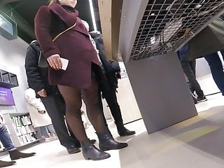 Hidden Camera Nylon Wife video: Candid dotted pantyhose in boots