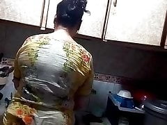 Hot Mom in Kitchen, Desi mom Shahnaz
