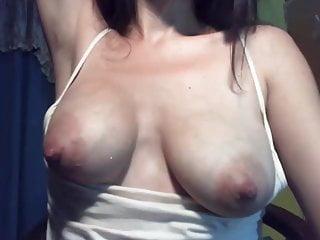 Milk squeezed nipples in lingerie